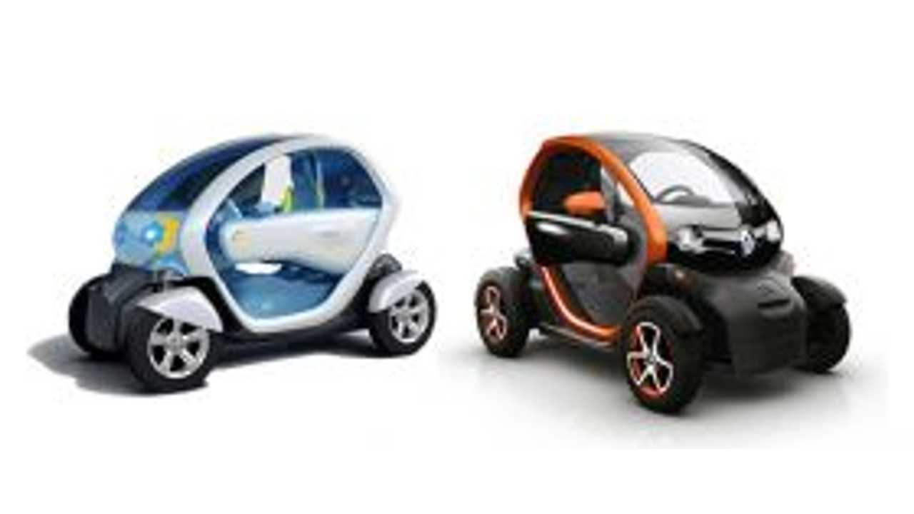 2009 Concept Twizy On Left, Production Renault Twizy Today On Right