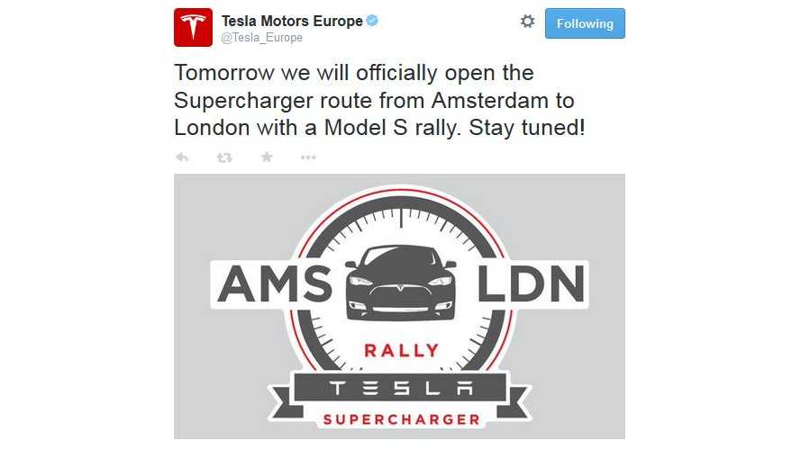 Tesla To Celebrate Opening Of Supercharger Route From Amsterdam To London With Model S Rally