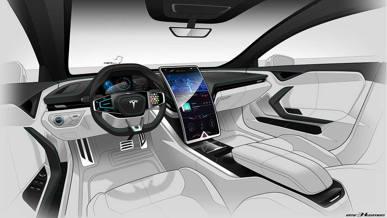 Check Out This Wild Tesla Model S Interior Render With Curvy Screen