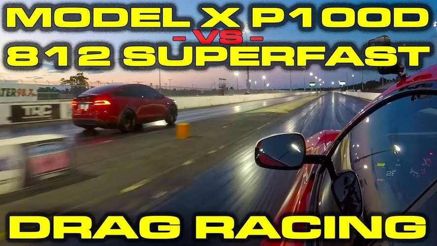 Watch Tesla Model X P100D Take On Ferrari 812 Superfast