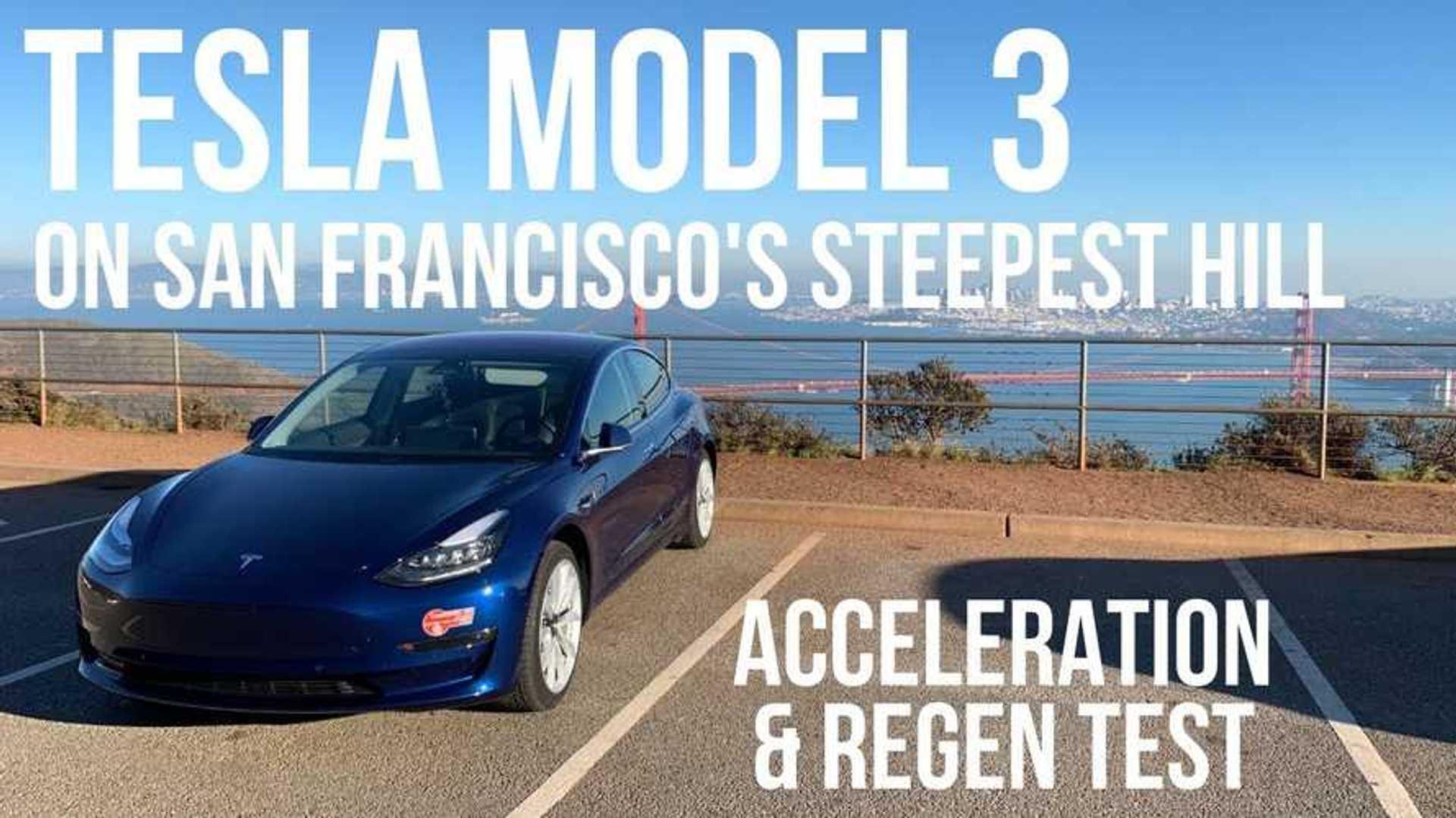 Watch Tesla Model 3 Regen & Accel Tests On Steep Hills In San Fran