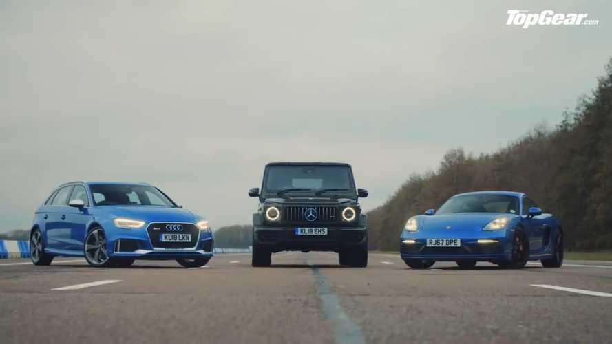 VIDEO - Un Mercedes-AMG G63 contre une Audi RS3 et une Cayman GTS