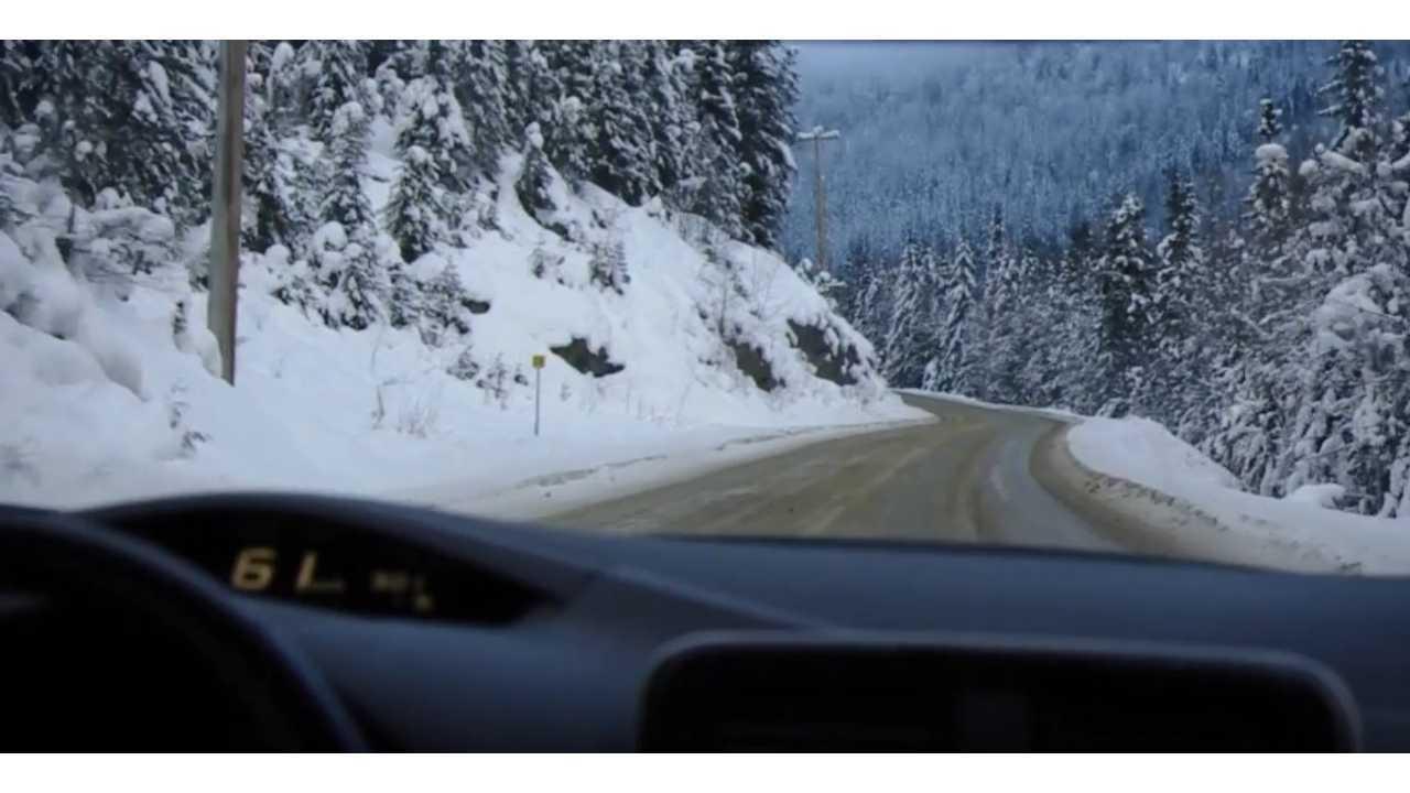 Nissan LEAF - Winter Driving to Whitewater Ski Resort