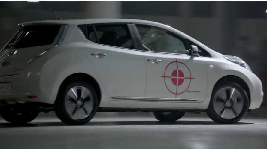 Blindfolded Soccer Player Attempts To Kick Ball At Near-Silent Nissan LEAF - Video