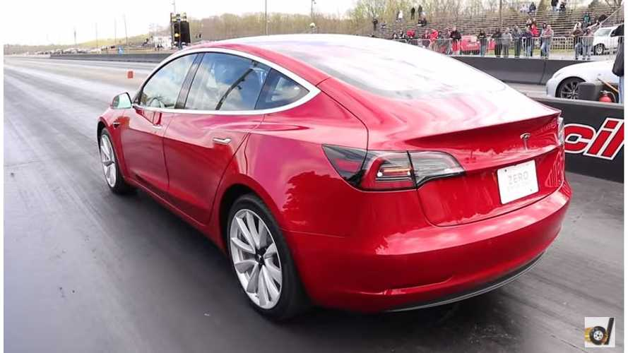 Watch Tesla Model 3 Set 1/4-Mile Record From DragTimes