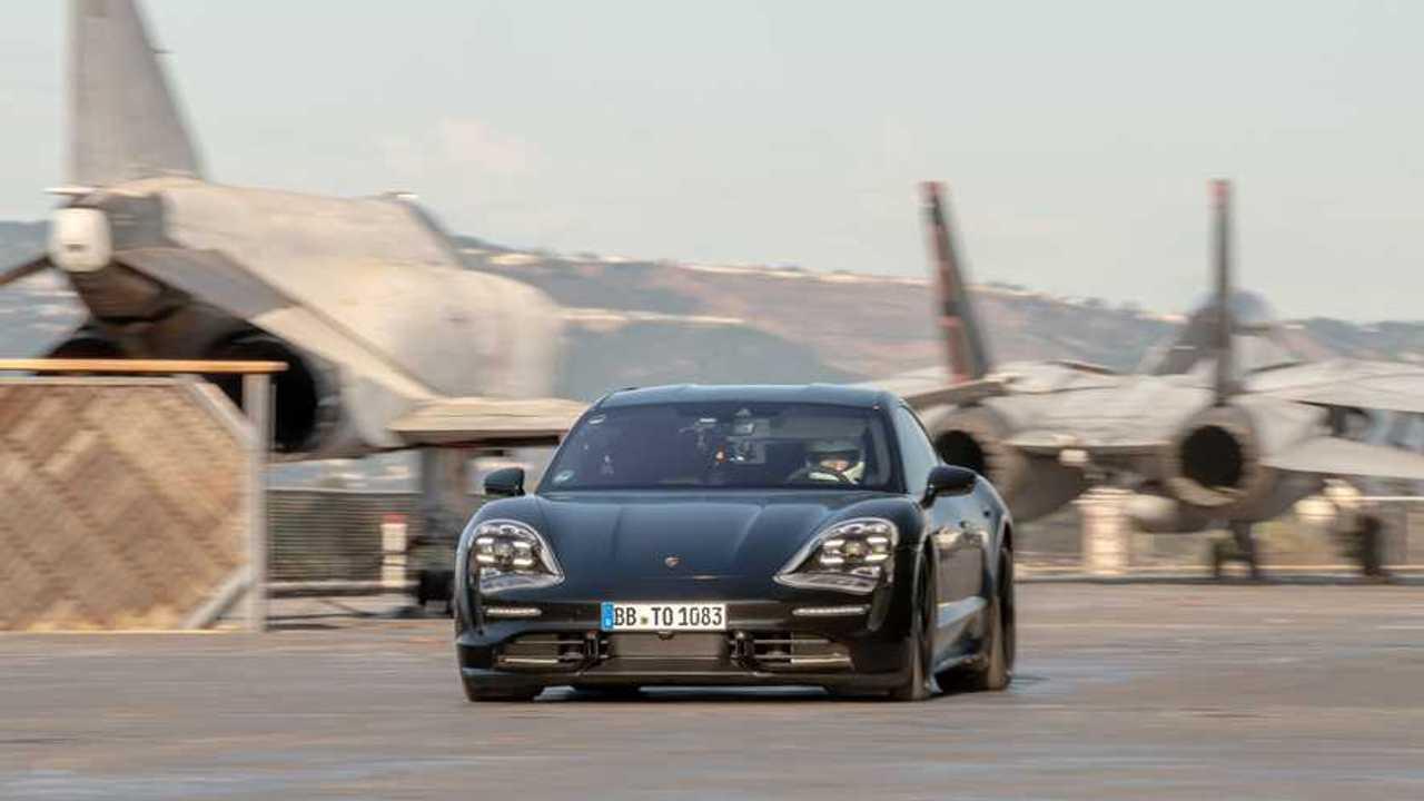 2020 Porsche Taycan at USS Hornet aircraft carrier