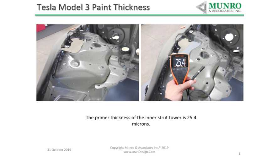 See The Munro & Associates Measurements Of The Tesla Model 3 Paint Thickness