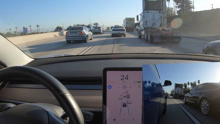 Tesla Autopilot V10 Moves Over For Safety When Passing Large Trucks