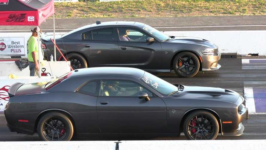 Hellcat Charger Duels Challenger In Husband Vs Wife Drag Race