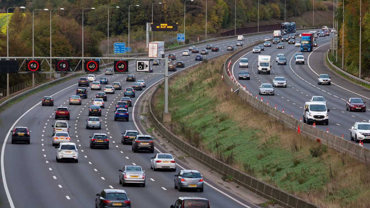 Evening traffic on busiest British motorway M25