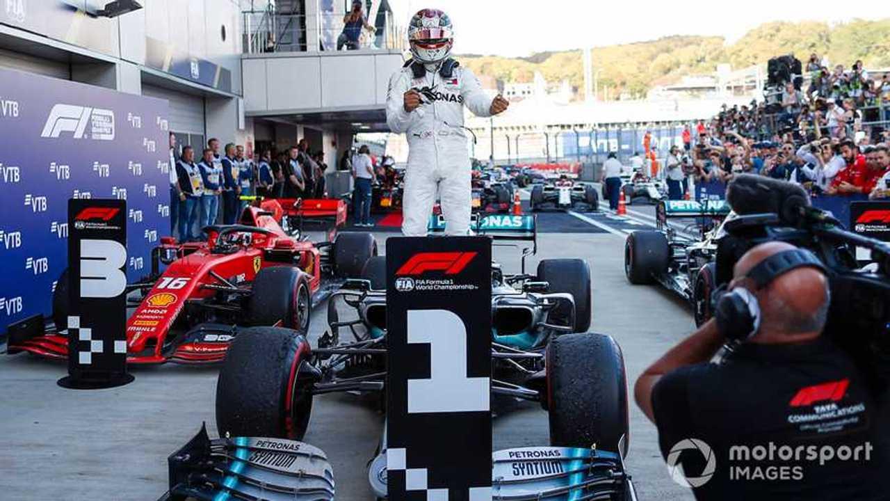 Race winner Lewis Hamilton at Russian GP 2019