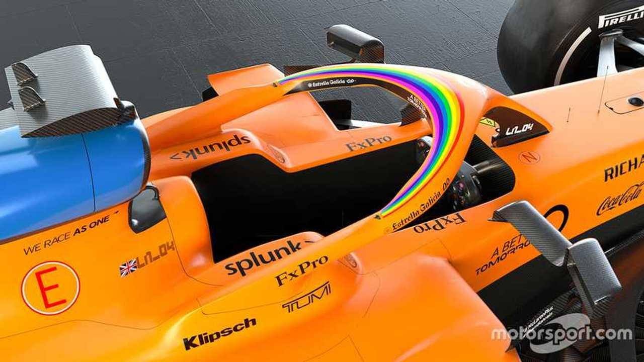 McLaren MCL35 with #WeRaceAsOne initiative logo