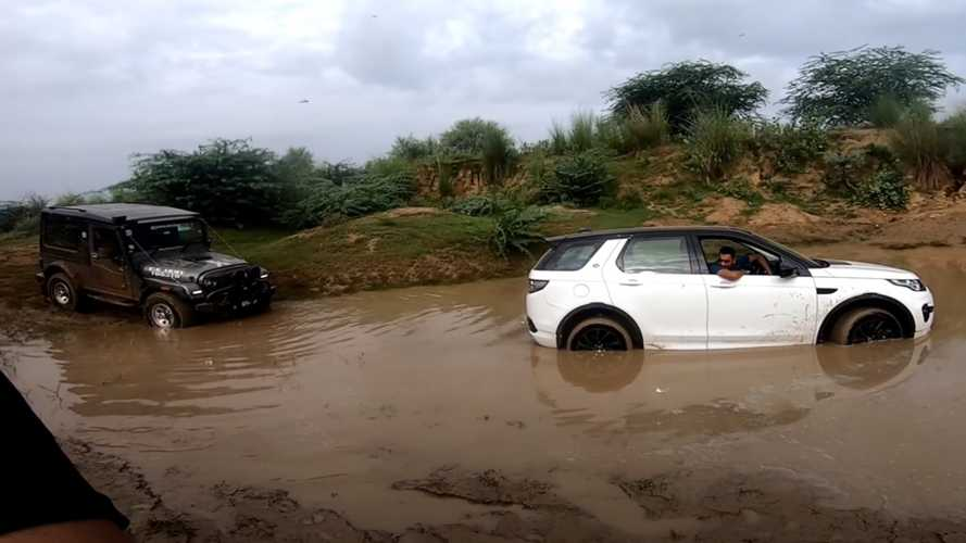 Watch Mud-Stuck Discovery Sport Seek Help From A Mahindra Thar
