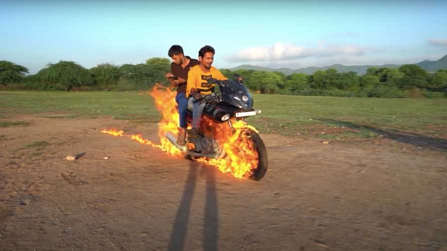Watch this homemade Ghost Rider bike burst into flames