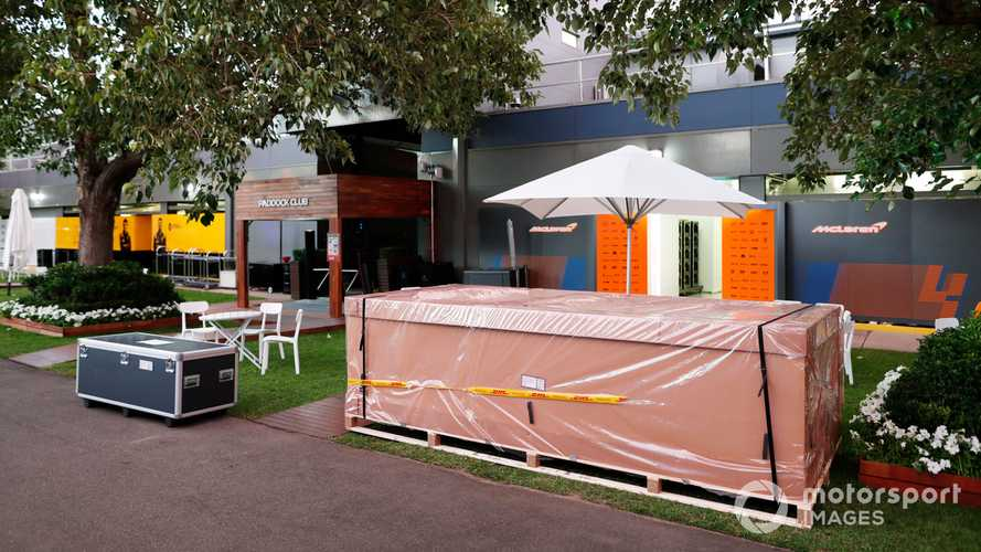 Packing crates outside the McLaren garage in the paddock at Australian GP 2020