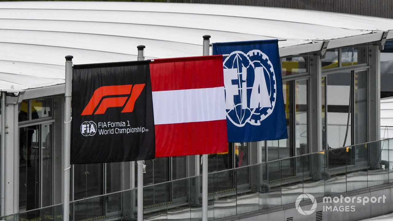 F1, FIA and Austrian flags at Styrian GP 2020