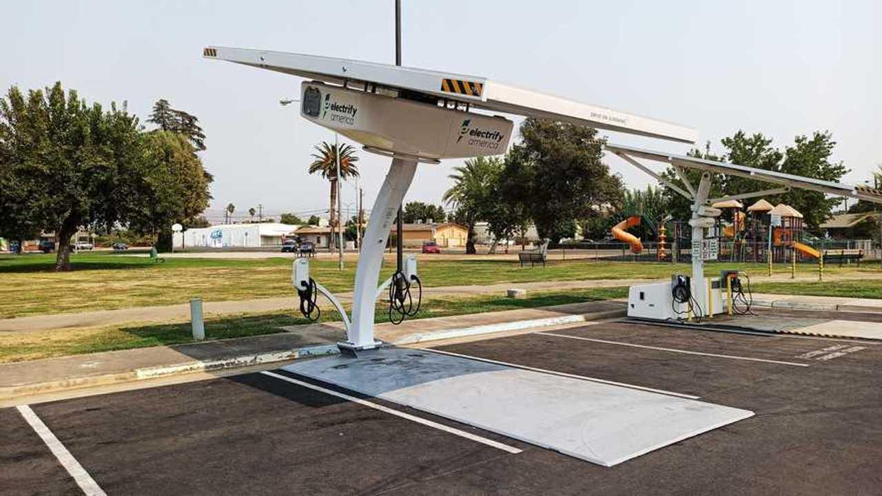 Electrify America's BEAM-EV ARC solar canopy