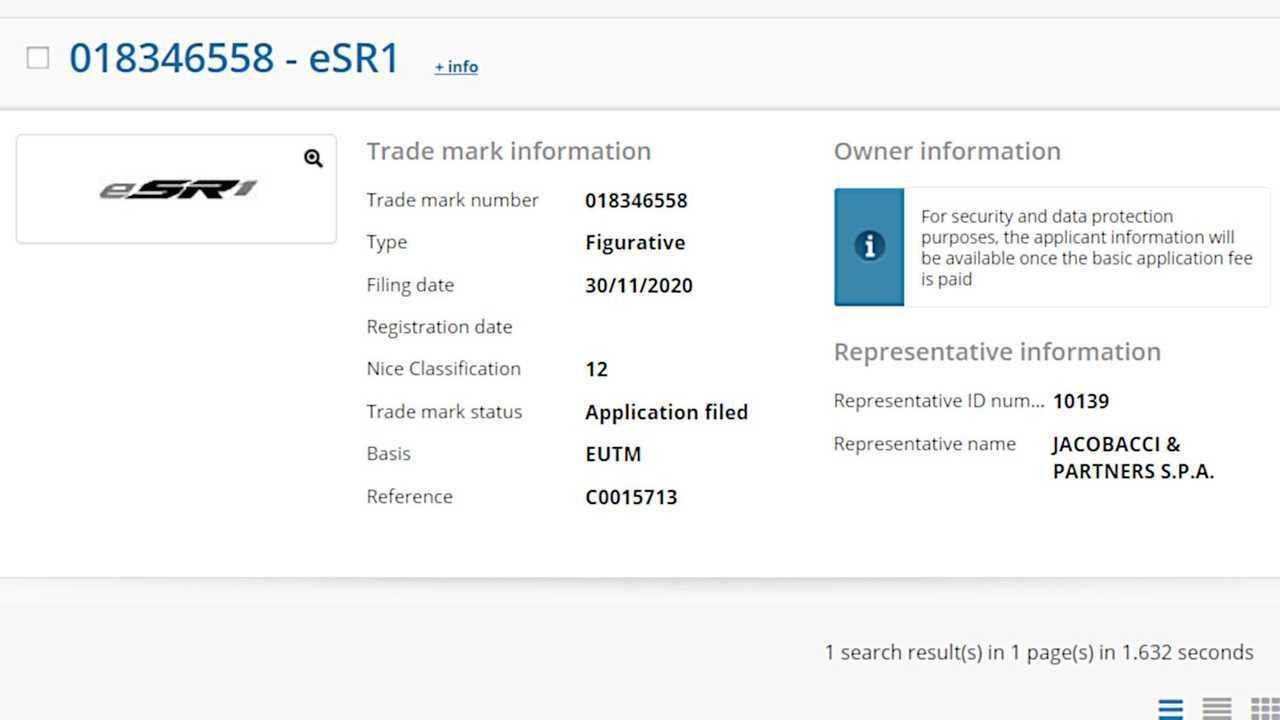 Captura de pantalla de presentación de marca registrada ESR1 - EUIPO