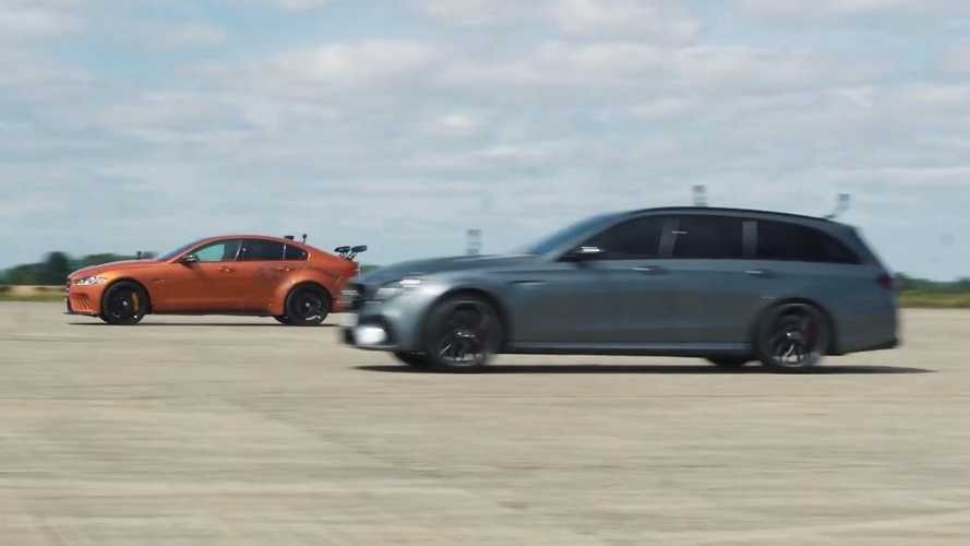 Watch Jaguar XE Project 8 duel AMG E63 Estate in drag race