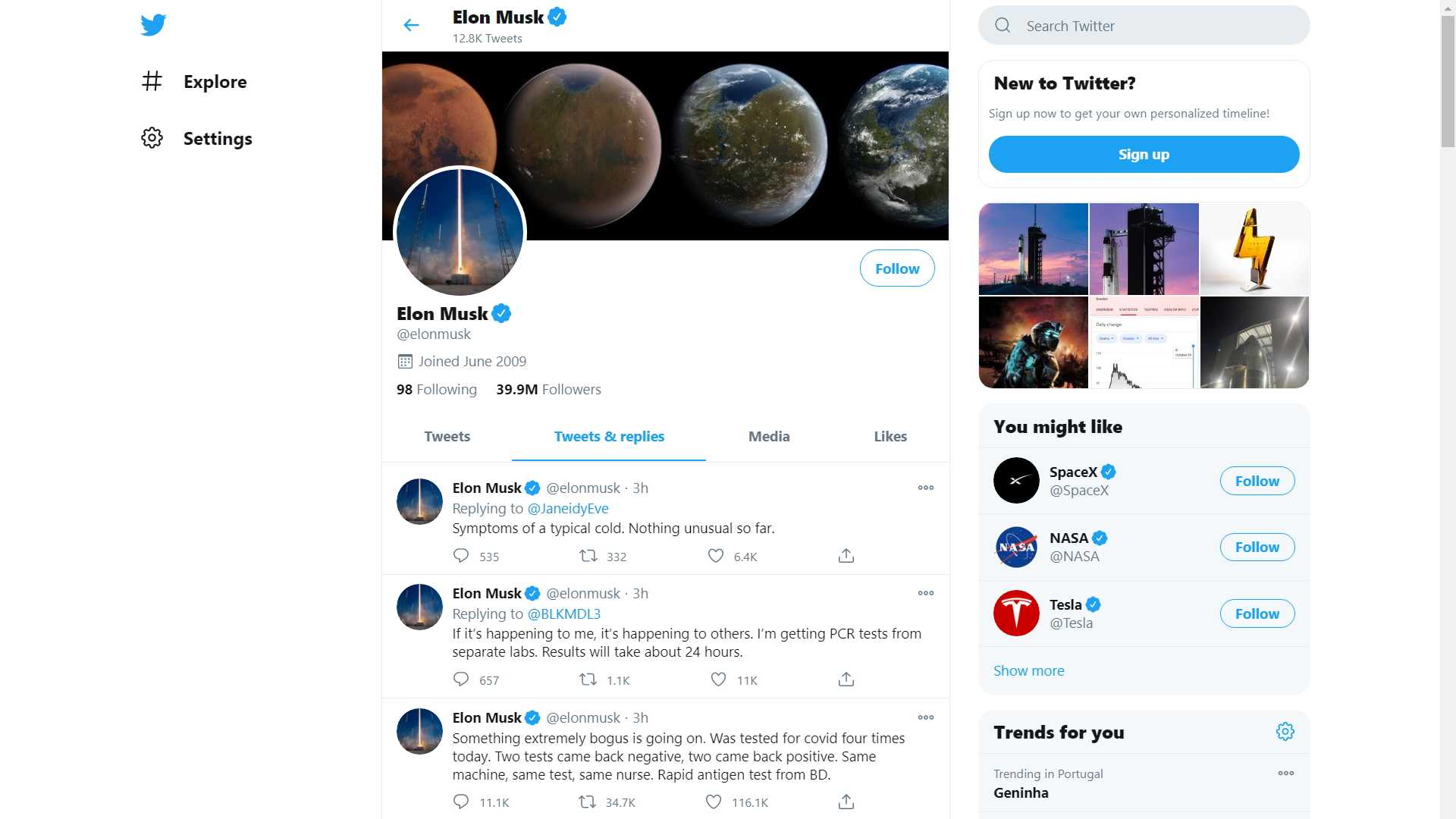 Elon Musk Says On Twitter He Tested Positive For Covid 19