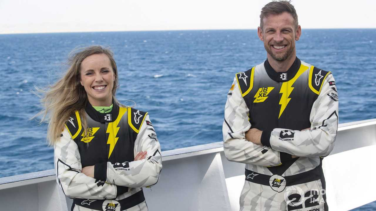 Mikaela Ahlin Kottulinsky and Jenson Button at Desert X-Prix 2021