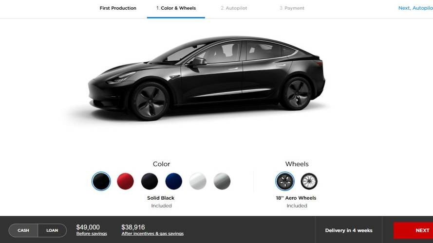 Tesla Model 3 configurateur