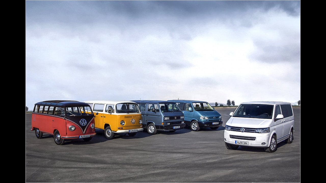 Fünf Generationen VW-Bus
