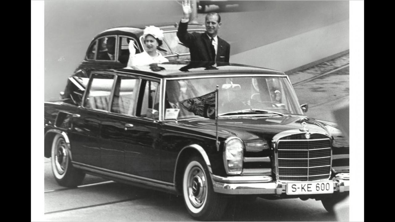 Die Queen und Prinz Philip auf Staatsbesuch in München 1966: Das Mercedes 600 Landaulet war keine Leihgabe der Bundesregierung, es wurde von Mercedes gestellt.