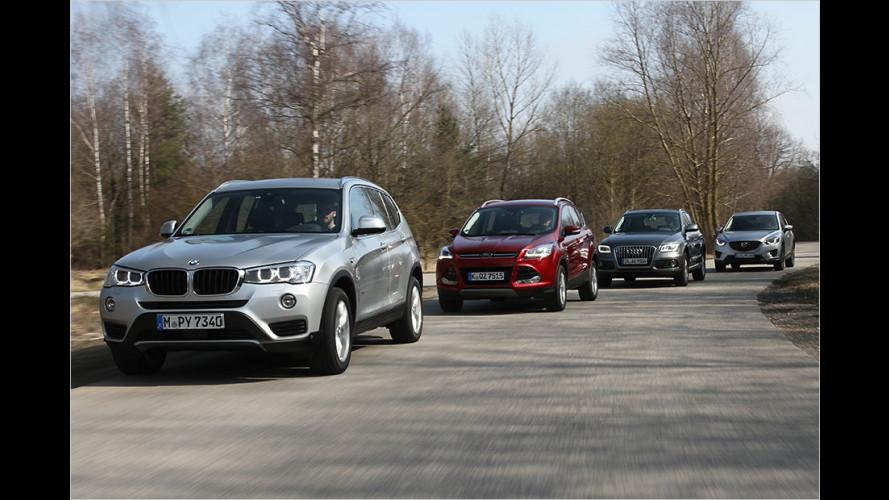 SUV-Vergleich: BMW X3 gegen Audi Q5, Ford Kuga und Mazda CX-5