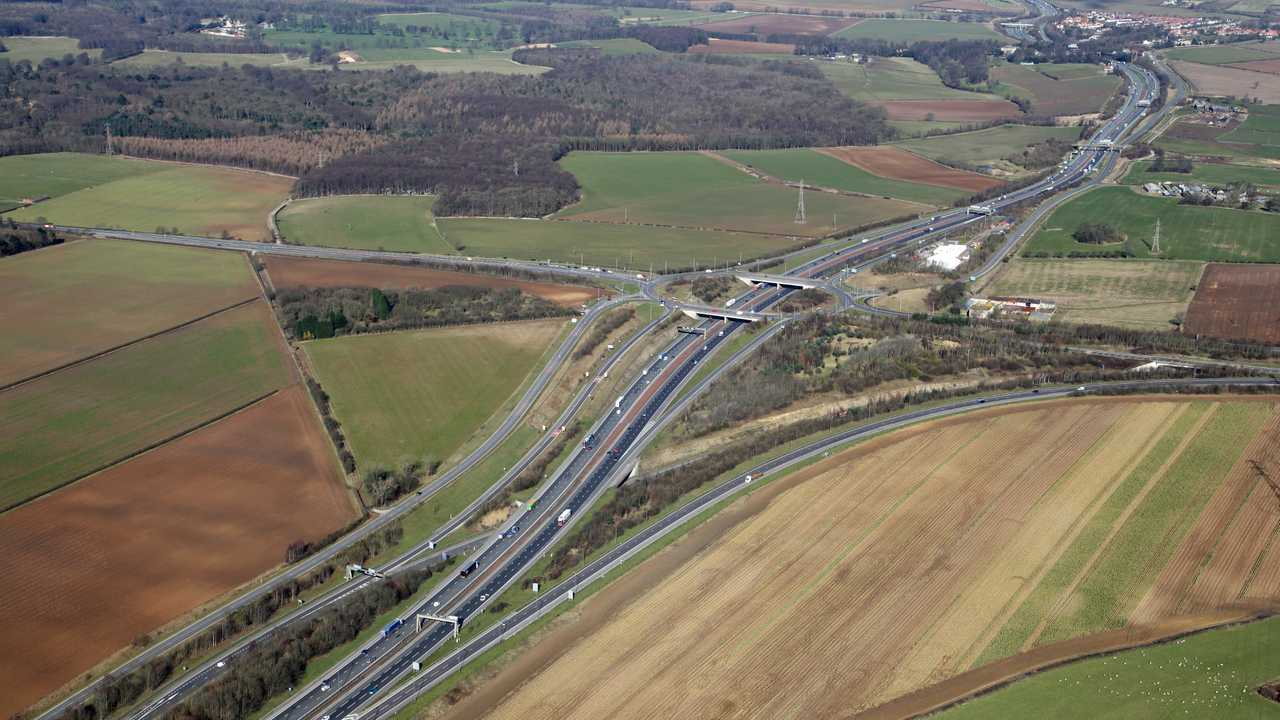 A1 A64 junction aerial view in West Yorkshire UK