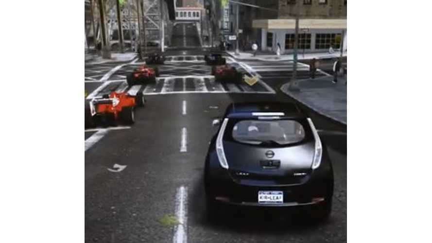 Video: Nissan LEAF Takes on Formula One Racers in GTA IV