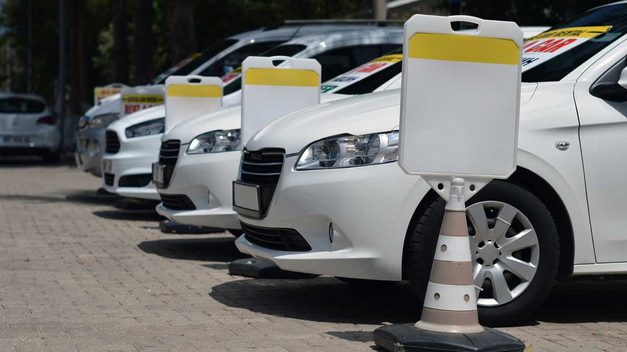 Row of rental cars