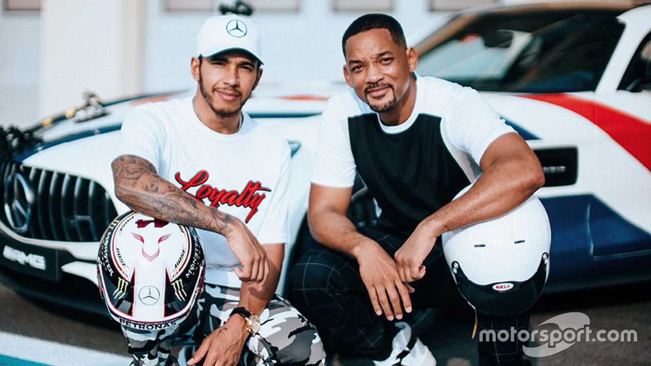 Will Smith and Lewis Hamilton in Abu Dhabi