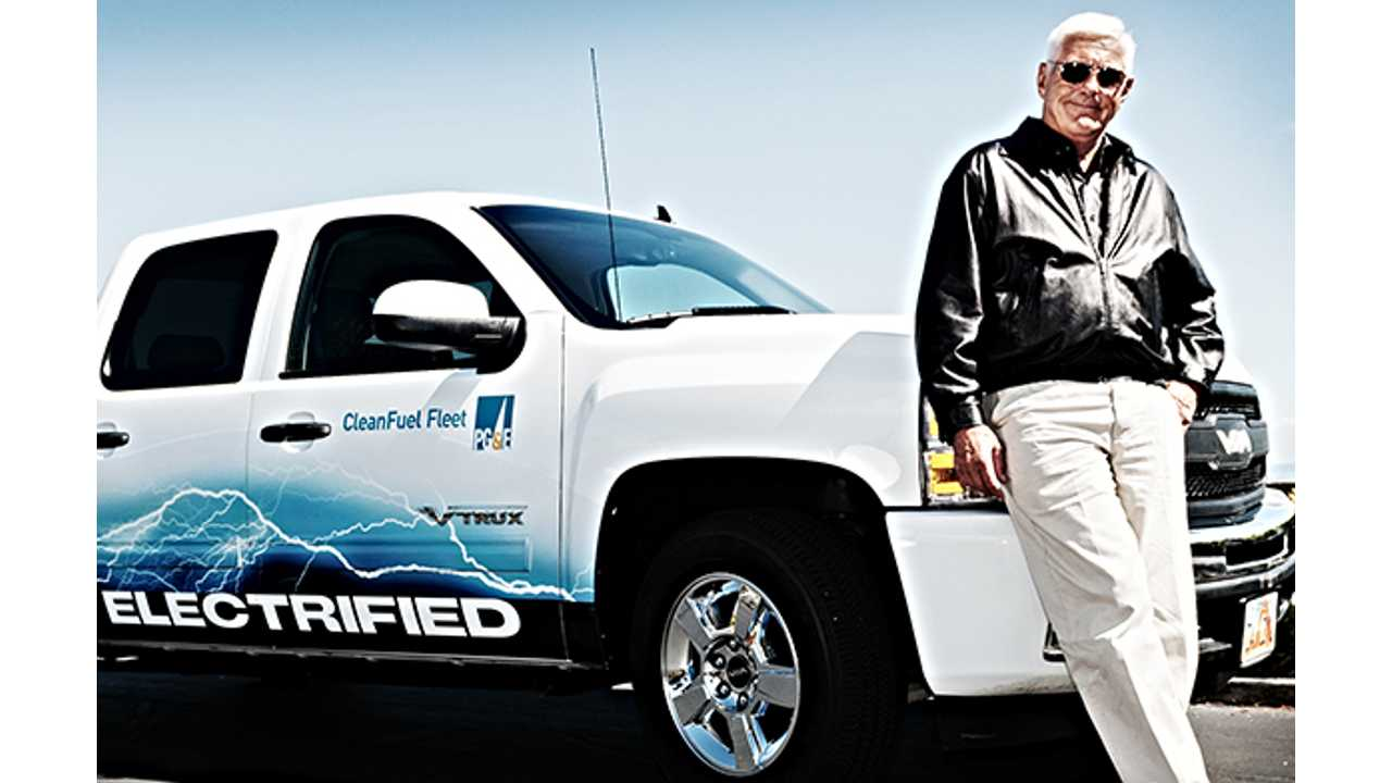 Bob Lutz With His Newest Product, The VIA VTRUX-Coming In 2013 (Photo by Terrence Taylor, courtesy of Charged EVs Magazine)