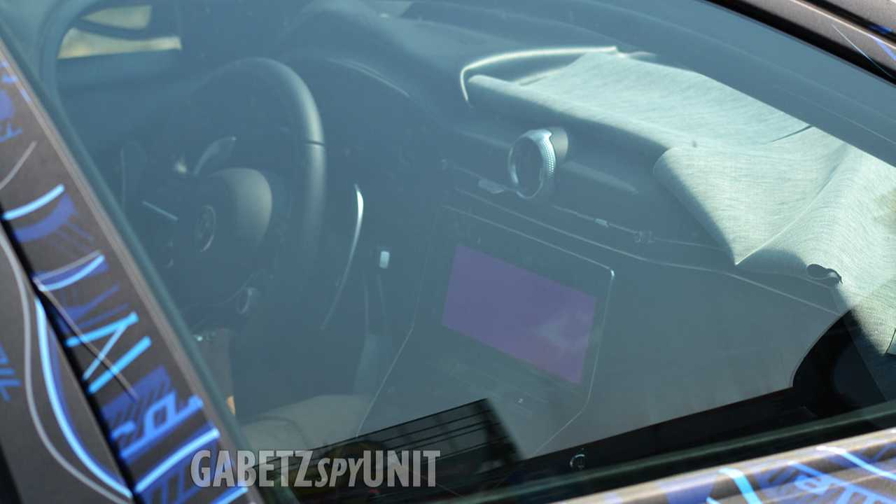 Spy shot showing part of the dash for the new Maserati Grecale crossover.