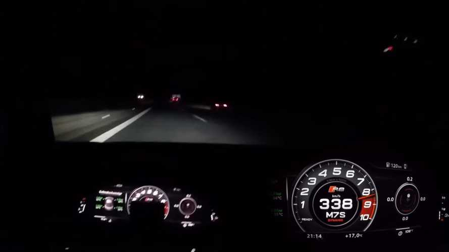 Supercharged Audi R8 hits 210 mph during nighttime Autobahn run
