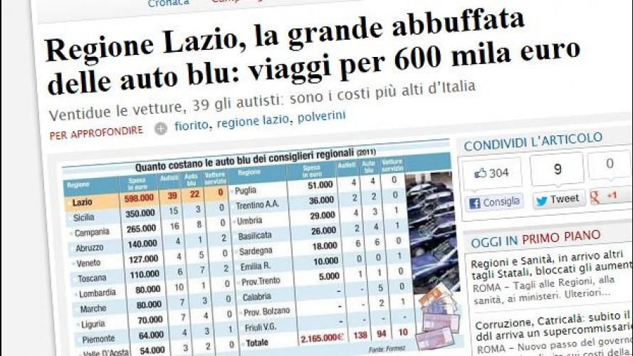 Auto blu dei Consigli regionali: Lazio sprecone, Emilia virtuosa