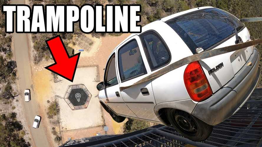 Watch YouTubers Drop A Car Onto The World's Strongest Trampoline