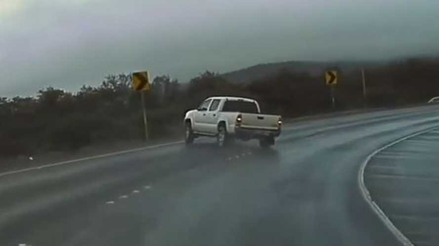 Watch Toyota Tacoma Truck Spin Out, Lose Control On Wet Ramp: TeslaCam