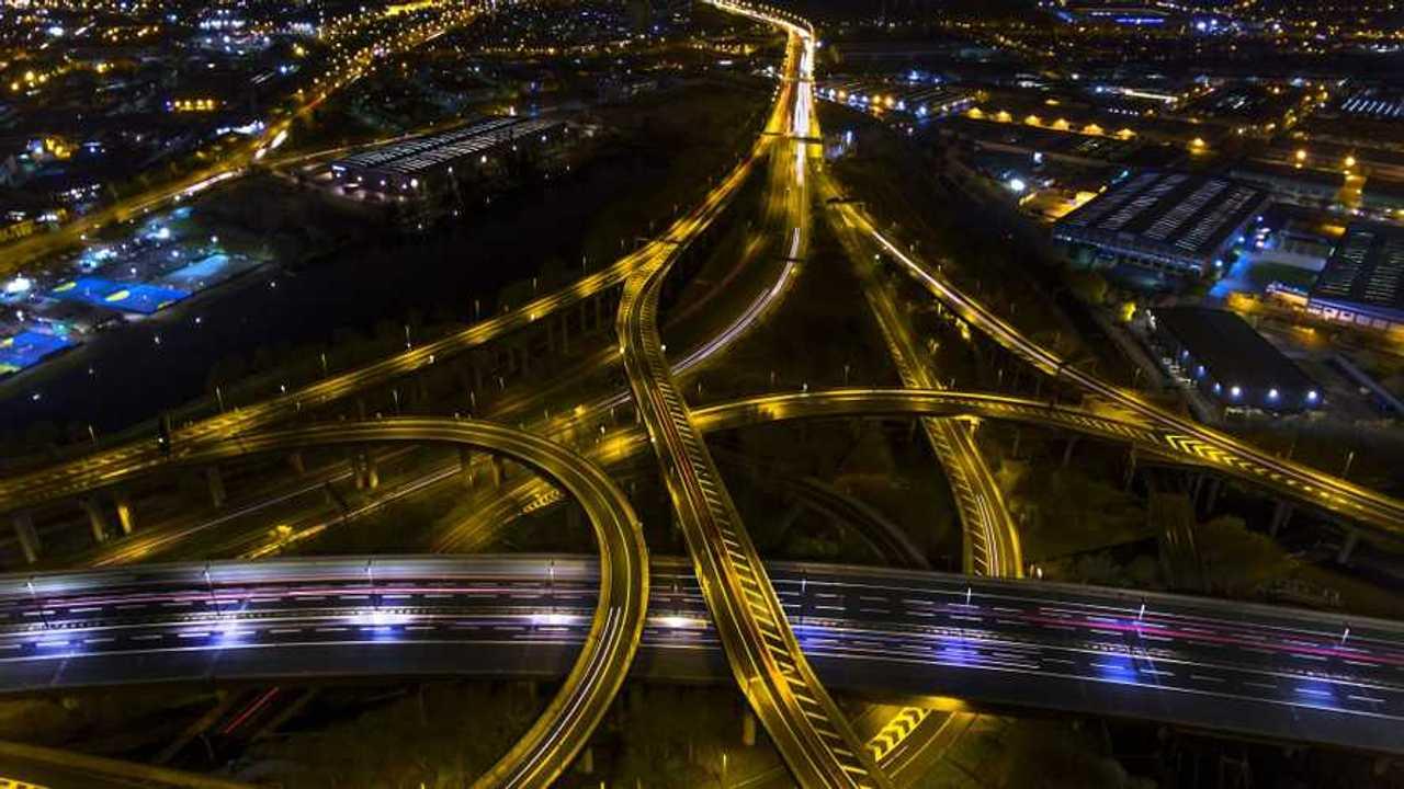 Night aerial shot of Spaghetti Junction in Birmingham UK