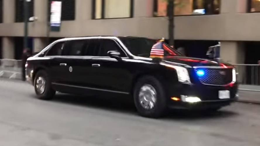 Watch President Trump's new Beast limo during maiden journey