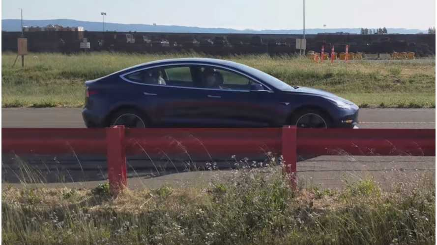 Tesla Model 3 Hits The Company's Fremont Test Track - Videos