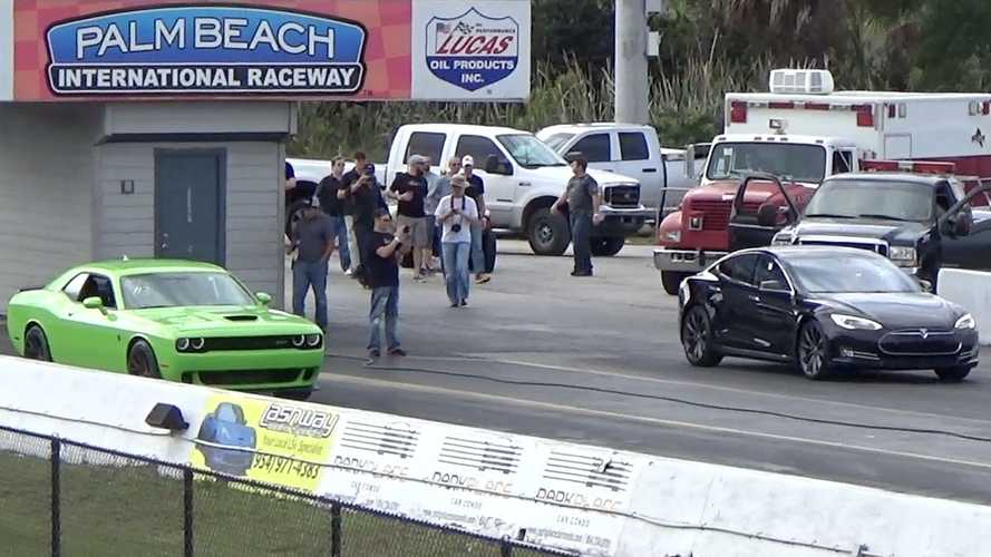 Tesla Model S P85D Sets 1/4 Mile World Record, Hellcat Chokes and Smokes (w/video)