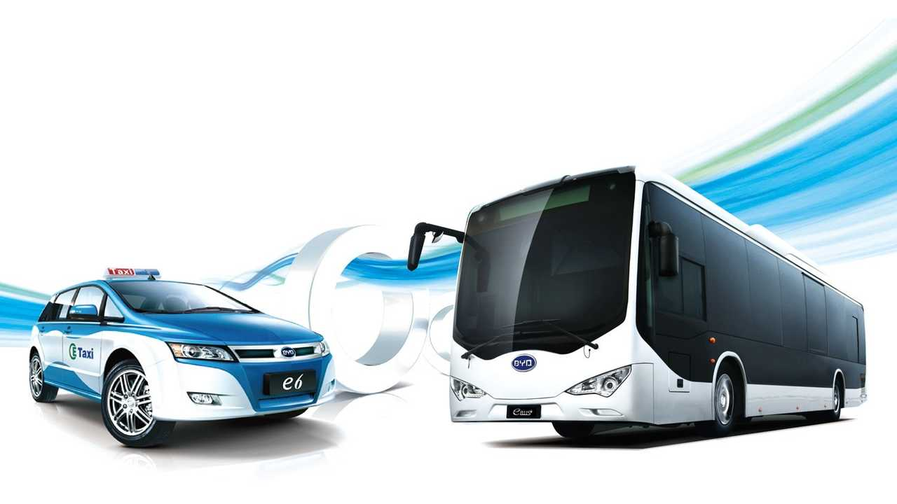 The pure-electric BYD e6 Taxi and k9 Transit Bus