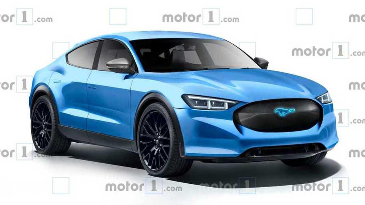 Fords Elektro-SUV mit Mustang-Design (Rendering in Blau)