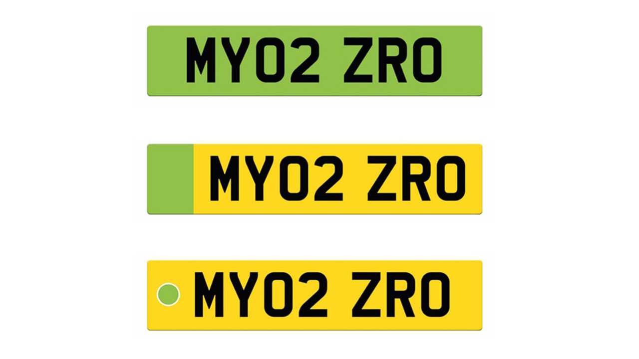 UK green license number plates