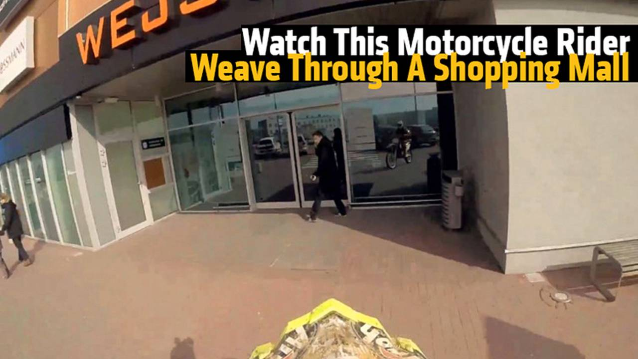 Watch This Motorcycle Rider Weave Through A Shopping Mall