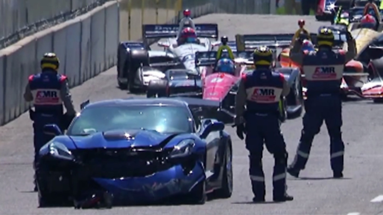 Crashed pace car