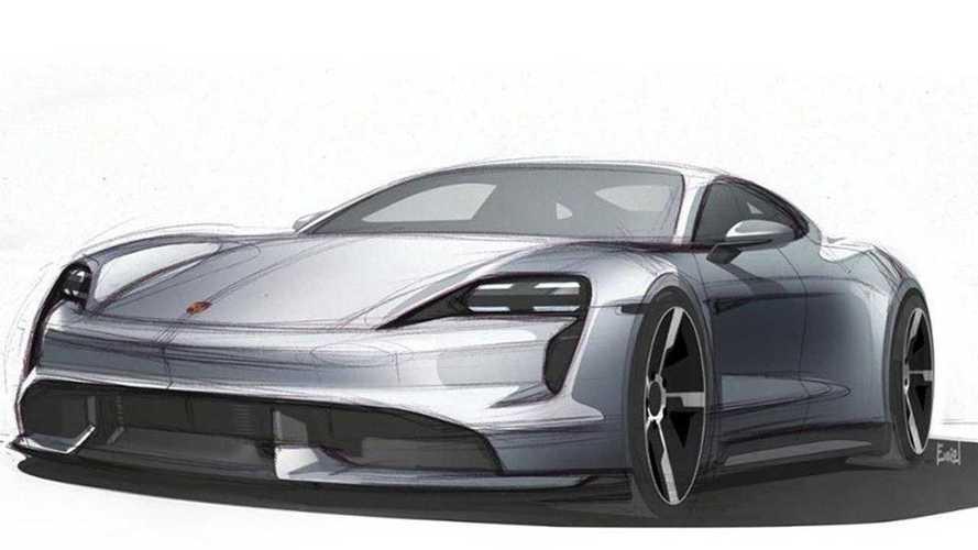 La Porsche Taycan apparaît sur des croquis officiels