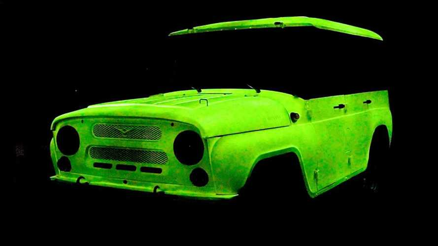 Russian UAZ Truck With Glow In The Dark Paint Looks Surreal